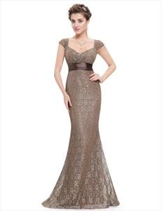 Cap Sleeve Sweetheart Neckline Empire Waist Lace Mermaid Prom Dress