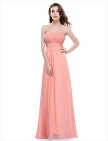 Strapless Empire Waist A Line Ruched Bodice Chiffon Bridesmaid Dress