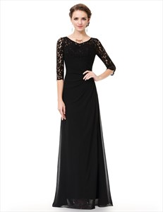 Black A-Line Lace 3/4 Sleeve Chiffon Mother Of The Bride Dress Long