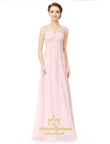 Blush Pink A Line Empire Waist Ruched Prom Dress With Tulle Straps