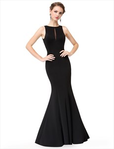 Black Mermaid Floor Length Prom Dress With Keyhole Front And Open Back