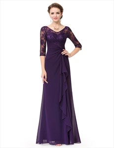 Grape V Neck 3/4 Lace Sleeves Long Chiffon Dress With Front Cascade