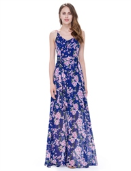 Women'S Floral Spaghetti Strap Floor Length Casual Summer Dresses