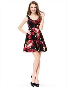 Black Plunging Neck Sleeveless Hot Pink Floral Jacquard Skater Dress
