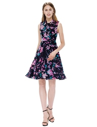 Black Floral Print High Neck Sleeveless A-Line Short Summer Dress