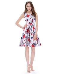 White Boat Neck Floral Sleeveless Skater Short Summer Dress With Belt
