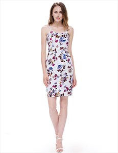 Strapless Sleeveless Floral Bodycon Dress Short With Removable Straps