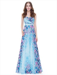 Strapless Sleeveless Floral Ruched Chiffon Maxi Dress With Lace Up