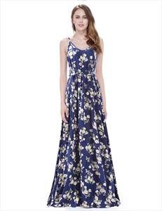 Navy Blue Floral Print Spaghetti Strap A Line Maxi Dress With Sash