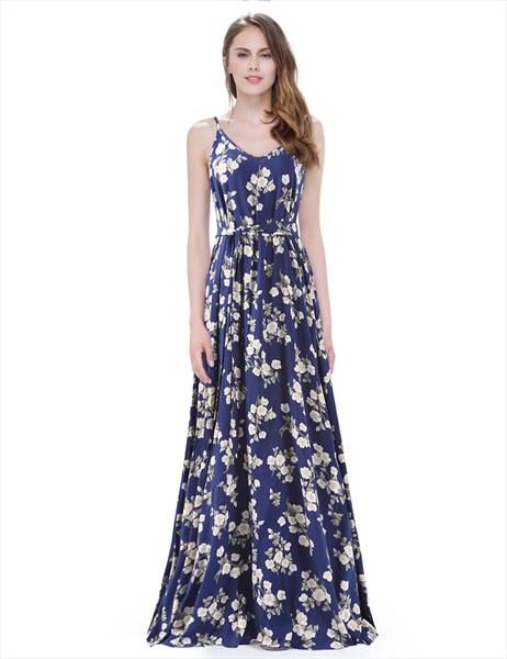 Navy Blue Floral Print Spaghetti Strap A Line Maxi Dress With Sash