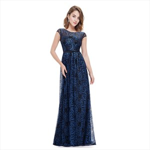 Blue A-Line/Princess Lace Overlay Cap Sleeve Mother Of The Bride Dress