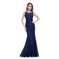 Navy Blue Mermaid Prom Dress With Illusion Lace And Open Keyhole Back