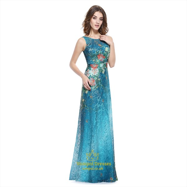 Teal Blue Floral-Print Sleeveless Lace Overlay Embellished Prom Dress