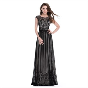 Black Floor Length Cap Sleeves Prom Dress With Lace Embellished Bodice