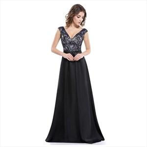 Black V-Neck Sleeveless Floor Length Dress With Lace Illusion Bodice