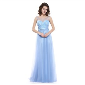 Sky Blue Lace Embellished Sweetheart Neckline Dress With Sheer Top