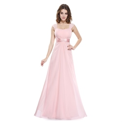 Pink Chiffon Sleeveless Ruched Long Bridesmaid Dress With Sheer Back