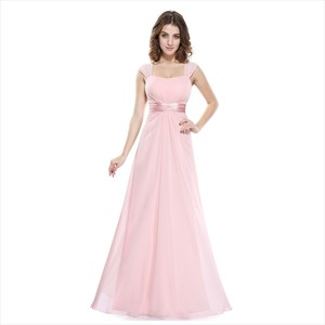 Pink Chiffon Sleeveless Ruched Long Bridesmaid Dress With Sheer Back