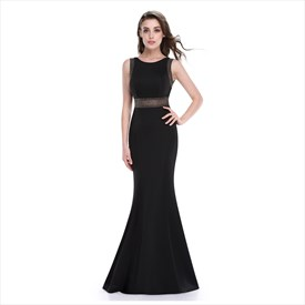 Black Mermaid Floor Length Sleeveless Prom Dress With Illusion Bodice