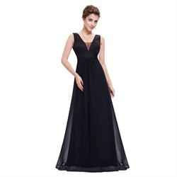 Black Chiffon Floor Length Sleeveless V-Neck Empire Waist Prom Dress