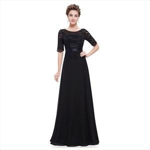 Black Chiffon Bateau Lace Embellished Bodice Dress With Short Sleeves