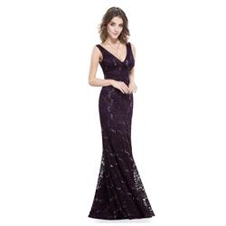 Vintage Dark Purple Lace Sequin Mermaid V Neck Sleeveless Prom Dresses