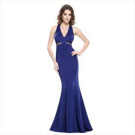 Royal Blue Mermaid Sleeveless V-Neck Long Prom Dress With Side Cut Out