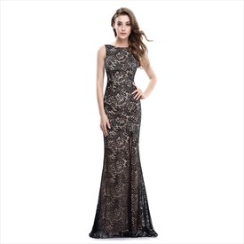 Elegant Champagne Sleeveless Side Split Dress With Black Lace Overlay
