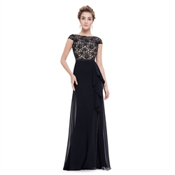 Black Lace Top Chiffon Bottom Cap Sleeves Prom Dress With Front Cascade