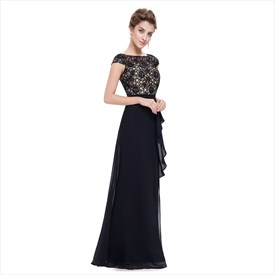 0418a0938e0a6 Black Lace Top Chiffon Bottom Cap Sleeves Prom Dress With Front Cascade.  USD $95.00. Grey Illusion ...