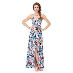 Colorful Spaghetti Strap Side Split Summer Dress With Criss Cross Back