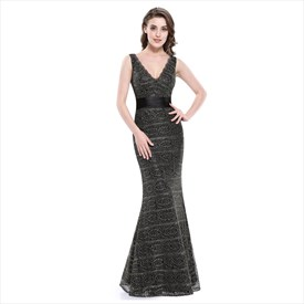 Black Lace Overlay Mermaid V-Neck Sleeveless Prom Dress With Ruching
