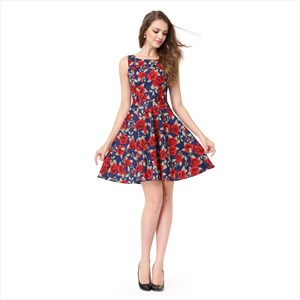 Blue Floral Print Jacquard Sleeveless A-Line Fit & Flare Skater Dress