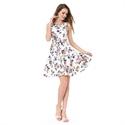 White Floral Print Jacquard Sleeveless A-Line Fit & Flare Skater Dress