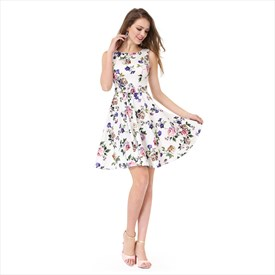 White Floral Print Jacquard Sleeveless A-Line Fit & Flare Skater Dress