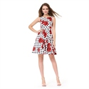 White Sleeveless A-Line Fit & Flare Skater Dress With Red Floral Print