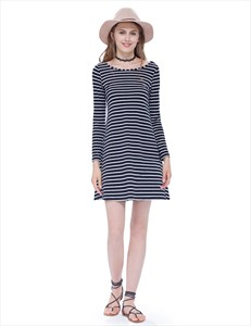 Classic Loose Black And White Striped T Shirt Dress With Long Sleeves