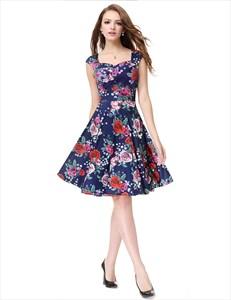 Blue Floral Jacquard Print Fit And Flare Skater Dresses For Juniors