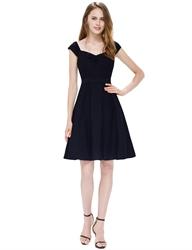 Chic Little Black A Line Sleeveless Cap Sleeves Skater Dress With Belt