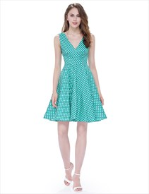 Mint Green And White Polka Dot V Neck Sleeveless Fit And Flare Dress