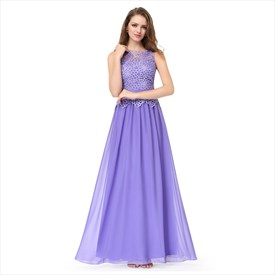 Amethyst Lace Top Chiffon Bottom Sleeveless Illusion Bridesmaid Dress
