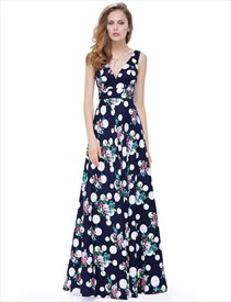 Elegant V Neck Sleeveless Print A Line Long Special Occasion Dress