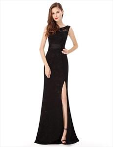 V Back Sleeveless Lace Long Evening Dress Side Spilt With Sash Belt