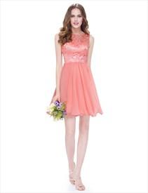 Lace Bodice Chiffon Skirt A Line Knee Length Maid Of Honor Dress