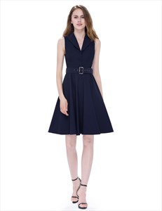 Women'S V Neck Sleeveless Skater Dress Short With Buttons And Belt
