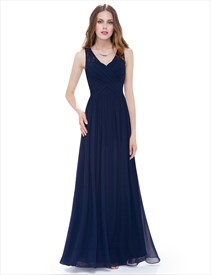 ced0c430039a A Line Ruched Chiffon Lace Strap Prom Dress Long With Lace Up Back