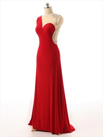 Illusion Beaded Sweetheart Backless Floor Length Sleeveless Dress