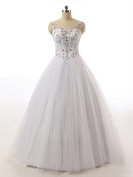 Crystal Beaded Corset Bodice Princess Ball Gown Wedding Dress