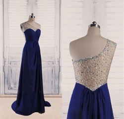 Royal Blue One Shoulder A Line Sweetheart Sleeveless Beaded Dress