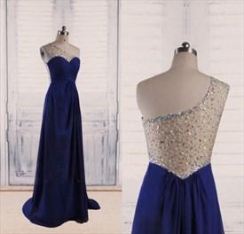 Royal Blue One Shoulder A Line Sweetheart Sleeveless Beaded Dress